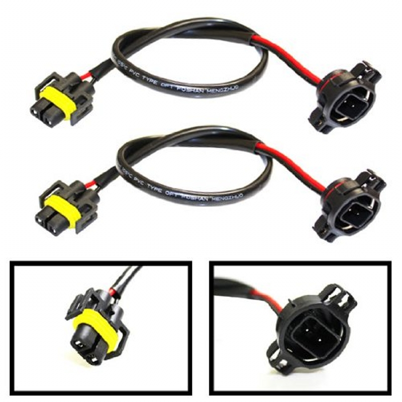 все цены на Set of 2 - 5202 (or H16) to H11 (or H8/880/881) Wiring Pigtail Conversion Harness Connector Wire Adapter Socket Plug Cable онлайн