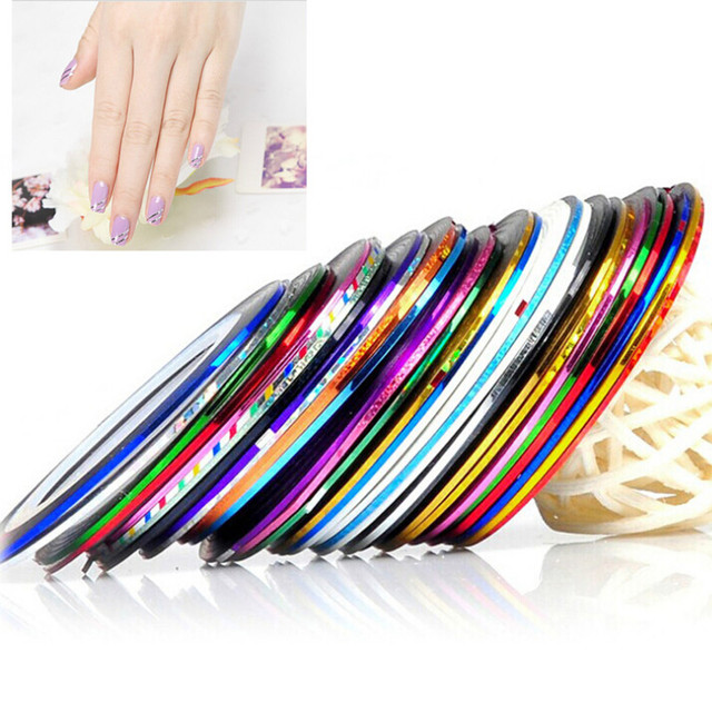 New Fantastic 200 Roll Mix Color Metallic Nail Art Tape Lace Line ...