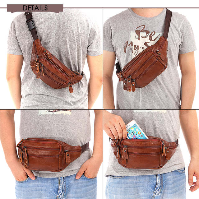31d0869b New 2019 Genuine Leather Waist Packs Fanny Pack Belt Bag Phone Pouch Bags  Travel Waist Pack Male Small Waist Bag Leather Pouch