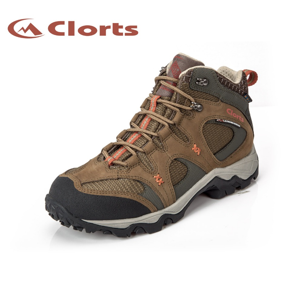 Clorts Men Mid-Cut Hiking Sneakers Genuine Leather Waterproof Outdoor Hiking Shoes EVA Nubuck Climbing Athletic Shoes HKM-820 цена