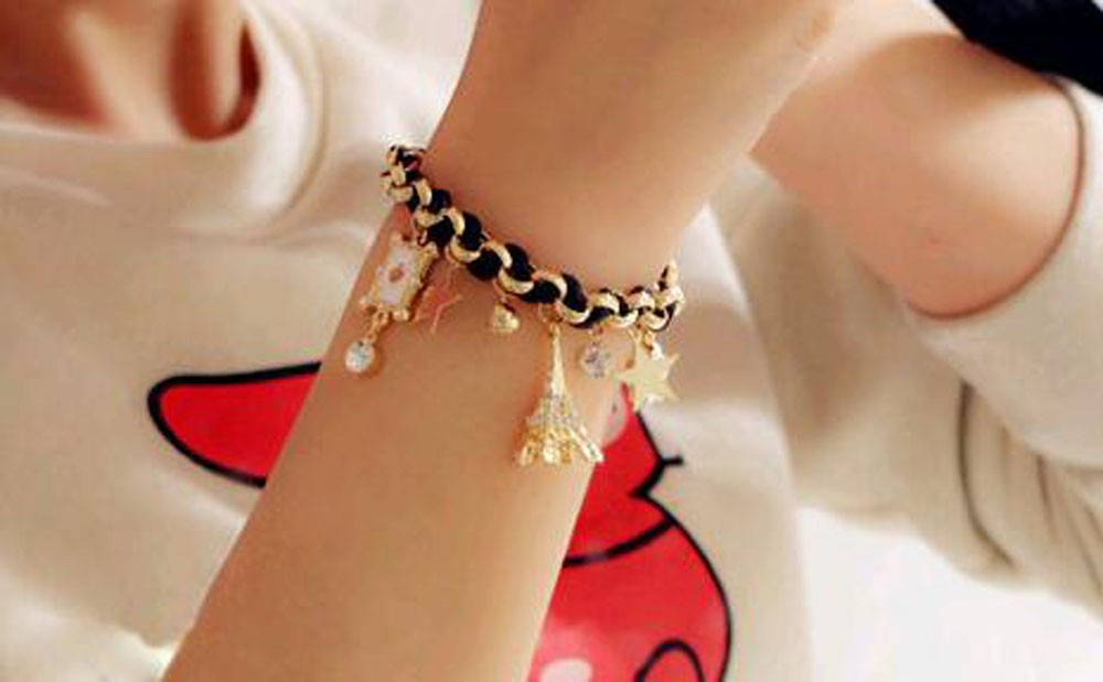 Vienkim New Hot sell  Fashion Jewelry Multielement Gold Chain Leather Rope Crystal Handmade Bracelet Eiffel Tower Star Pendant 18