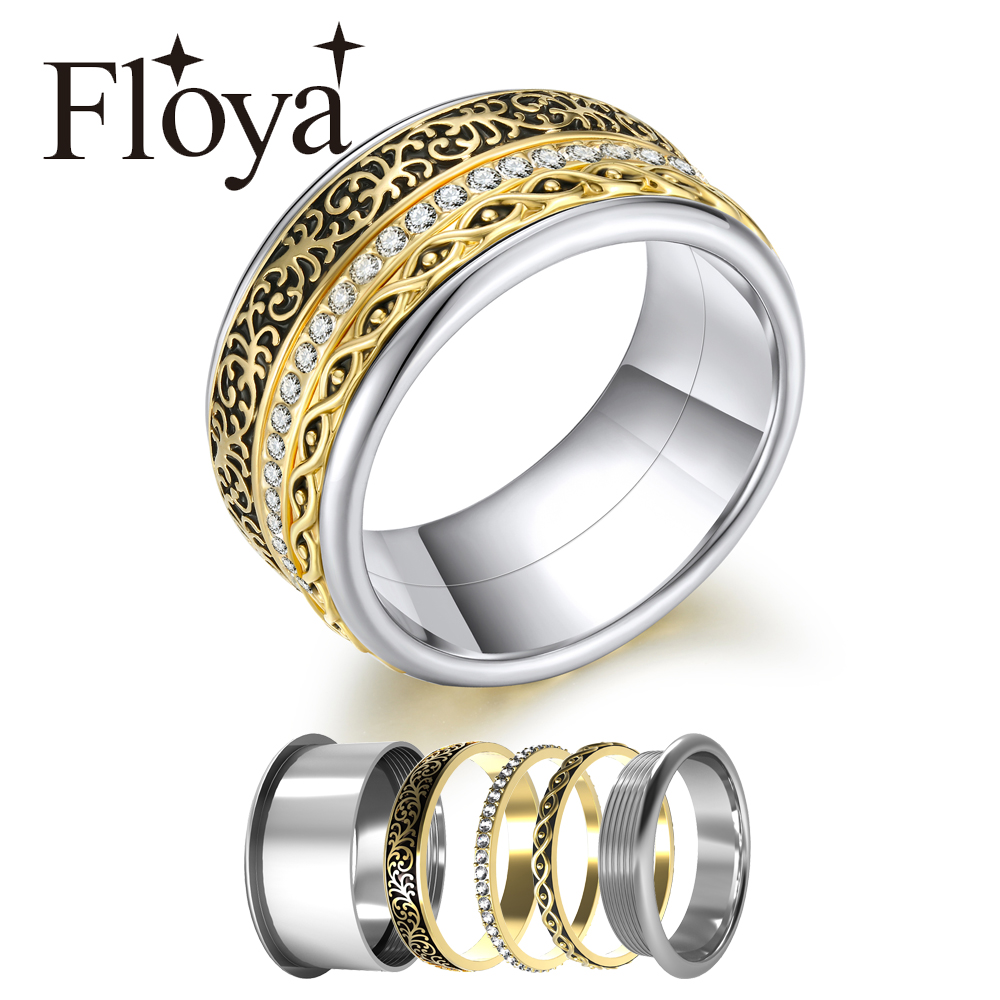 Floya Stackable Rings For Women Bridal <font><b>Set</b></font> <font><b>Base</b></font> Accessories Rotatable <font><b>Jewelry</b></font> Stainless Steel Arctic Symphony Rings Collection image