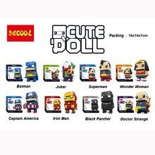 DC Marvel Brickheadz cute doll Superman Batman Iron man Captain America Hulk LegoINGlys Model Building Block Set Kids Brick Toy все цены