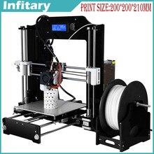 Venta caliente Reprap Prusa I3 DIY 3D Impresora de Alta Impressora Aryclic Tamaño máximo de 200*200*210mm y un rollo de Filamento 8 GB SD Card/LCD Envío
