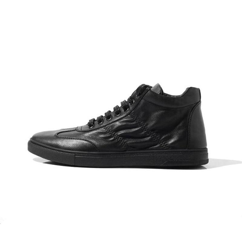 Sapatos Sapatilha Genuíno Lace Botas Do Up De Couro Na Tornozelo white Inverno Hight Moda Homens Dos Meninos Black Qualidade A6OFxF