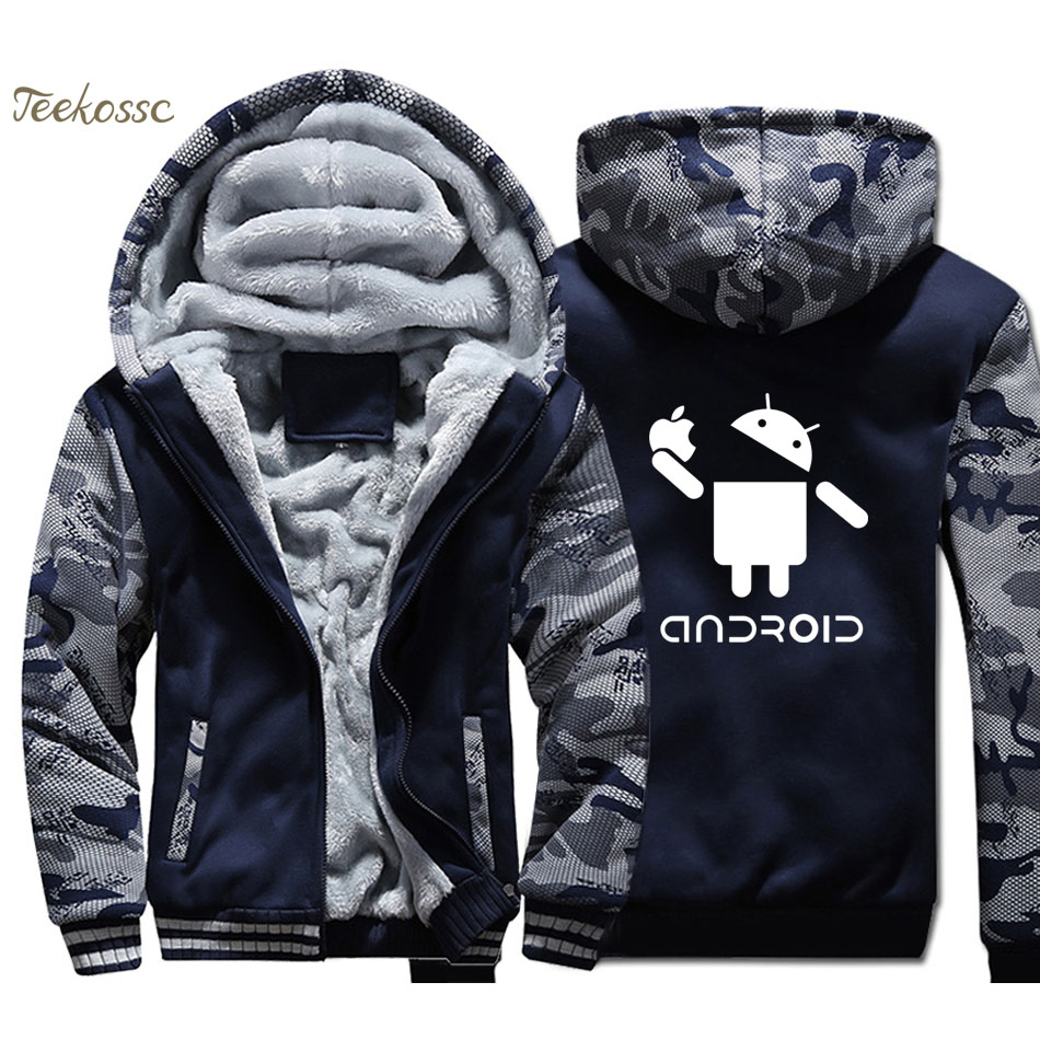 Android Hoodies Men Funny Nifty Cool New Original Design Sweatshirts Coats New Winter Thick Fleece Warm Funny Camouflage Jacket