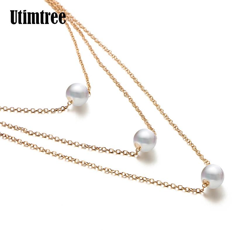 Utimtree старинные просто золото цвет цепь Многослойные жемчуг ожерелья для женщин украшения длинные Хаим Чокеры себе ожерелье