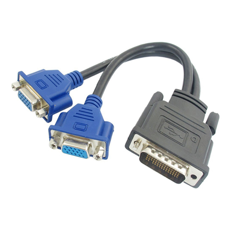 1 VGA DMS-59 Pin Male to 2 VGA 15 Pin Female Splitter Adapter Cable