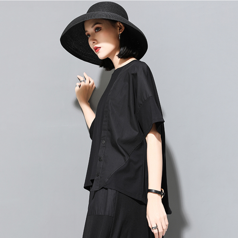 [EAM] 2020 New Spring Summer Round Neck Half Sleeve Black Button Split Joint Loose Big Size T-shirt Women Fashion Tide JX500 5