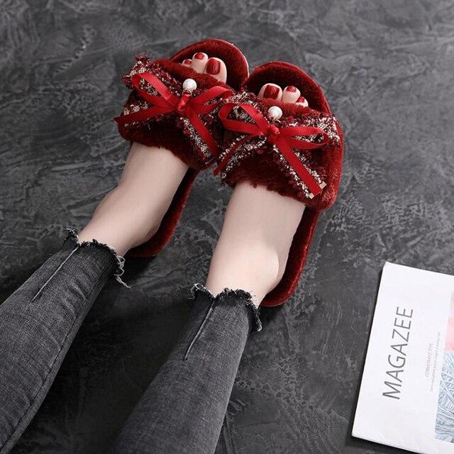 Femmes pantoufles chaussures dhiver femmes plat doux maison pantoufles chaussures dintérieur femme fausse fourrure chaud automne mode dames chaussures dd075
