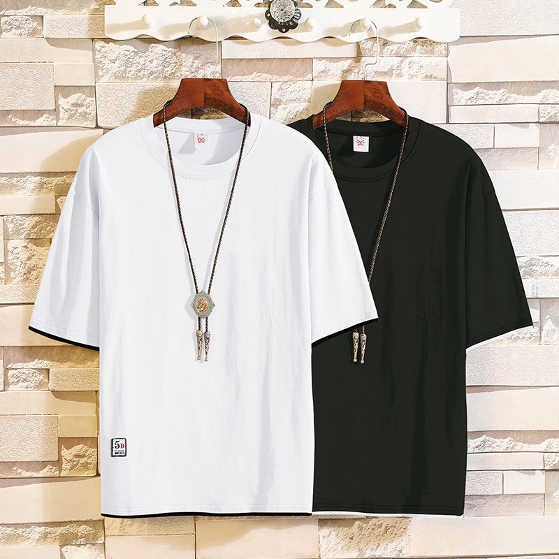 2019 New trend short-sleeved t-shirts in summer men's round-collar fake two half-sleeved shirts Korean version leisure MP94 2