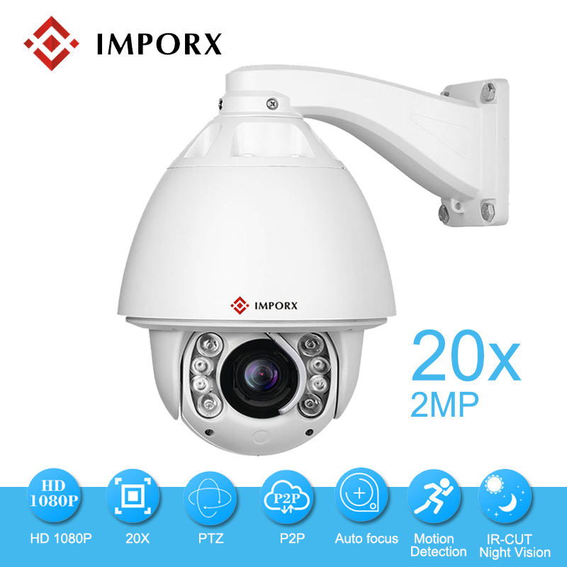 IMPORX IP Caméra Suivi Automatique 1080 P 20X ZOOM P2P IR 150 M avec d'essuie-glace PTZ IP Caméra