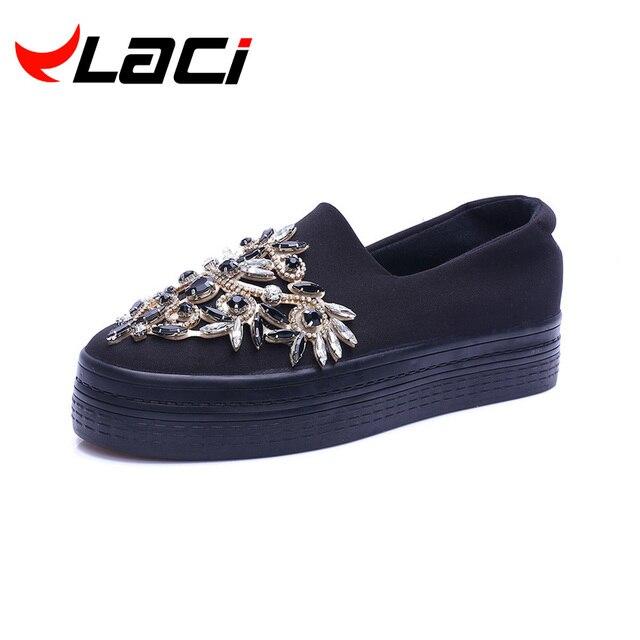 luxury shoes 2017 Rhinestone women platform shoes breathable black crystal shoe creeper for lady slipony slip on thick sole