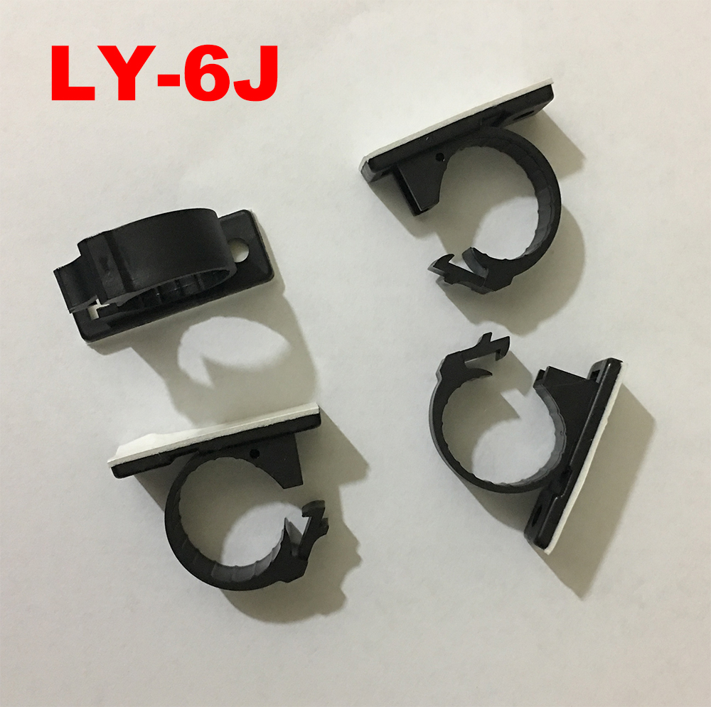 40pcs LY-6J 7.5mm Dia Self Adhesive Computer Case Fixed Screw Mount Base Bracket Holder Wire Management Harness Clamp Cable Clip