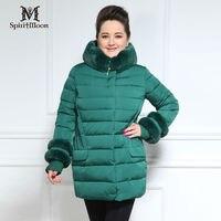 SpiritMoon Fashion New Arrival Winter Jacket Women Thick Bio Fluff Sintepon Artificial Wool Collar Plus Size