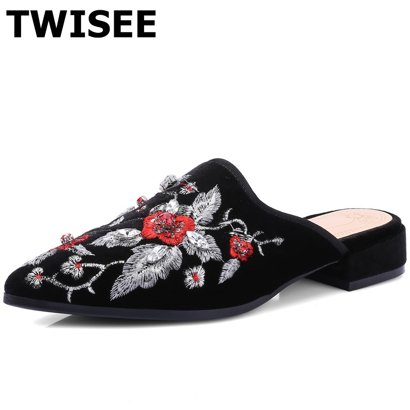 ФОТО Embroider Solid sapatos femininos flat shoes woman flock leather summer flats Comfortable point toe woman casual shoes