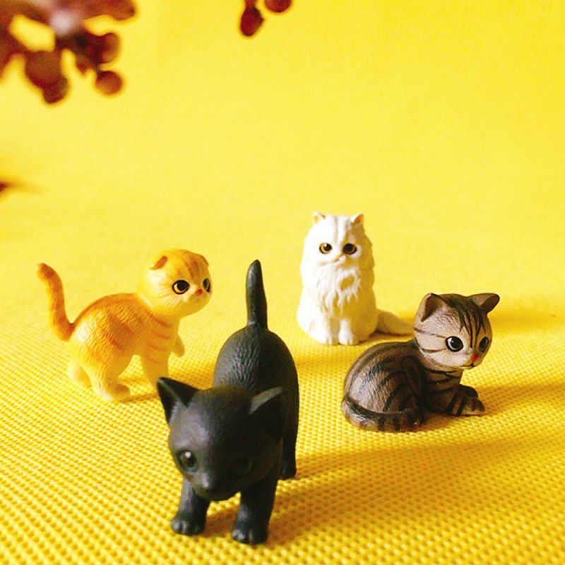 1 pcs/kitty cat/miniatures/lovely cute/fairy garden gnome/moss terrarium decor/crafts/bonsai/doll house/figurine/model/toy