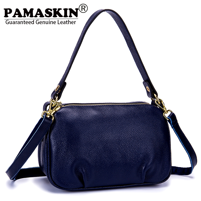 PAMASKIN Brand Premium Genuine Leather Women Messenger Bags 2018 New Arrivals Female Shoulder Bag Ladies Casual Tote Handbags women leather handbags new buckets ladies bag fashion trend women genuine leather shoulder messenger bags female casual tote bag