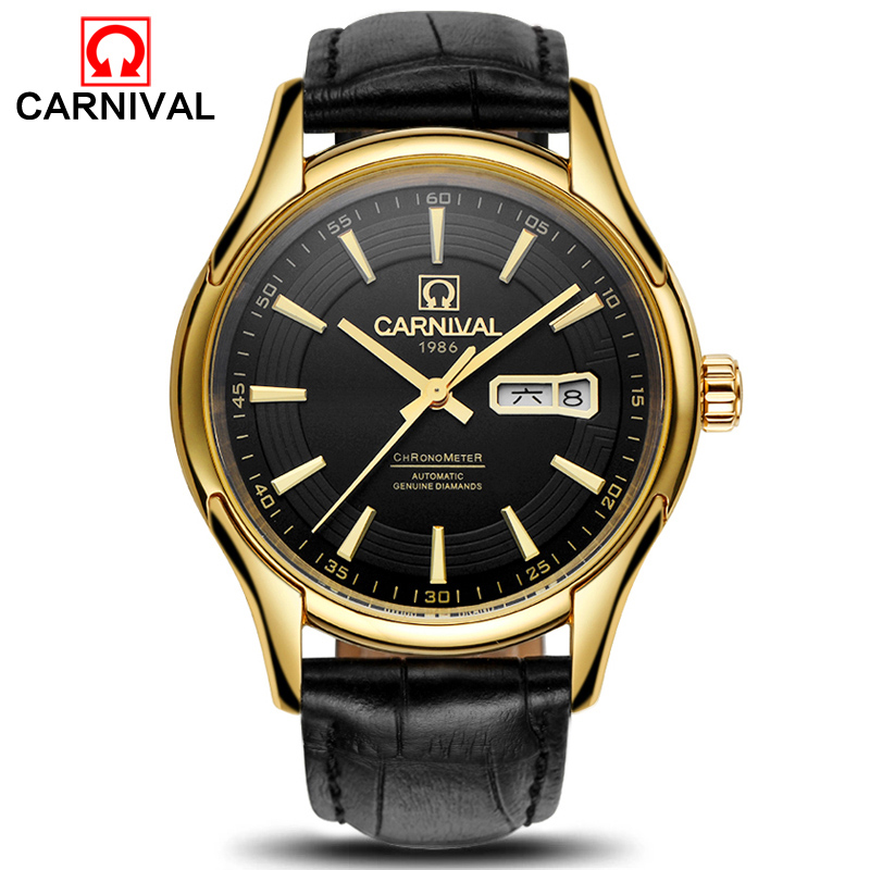 Carnival Gold Black Automatic Watch Men Fashion Waterproof Mens Mechanical Watches Top Brand Luxury Male Clock erkek kol saati carnival men watch top brand luxury automatic male clock calfskin band day and date display black lens mechanical watches hot sa