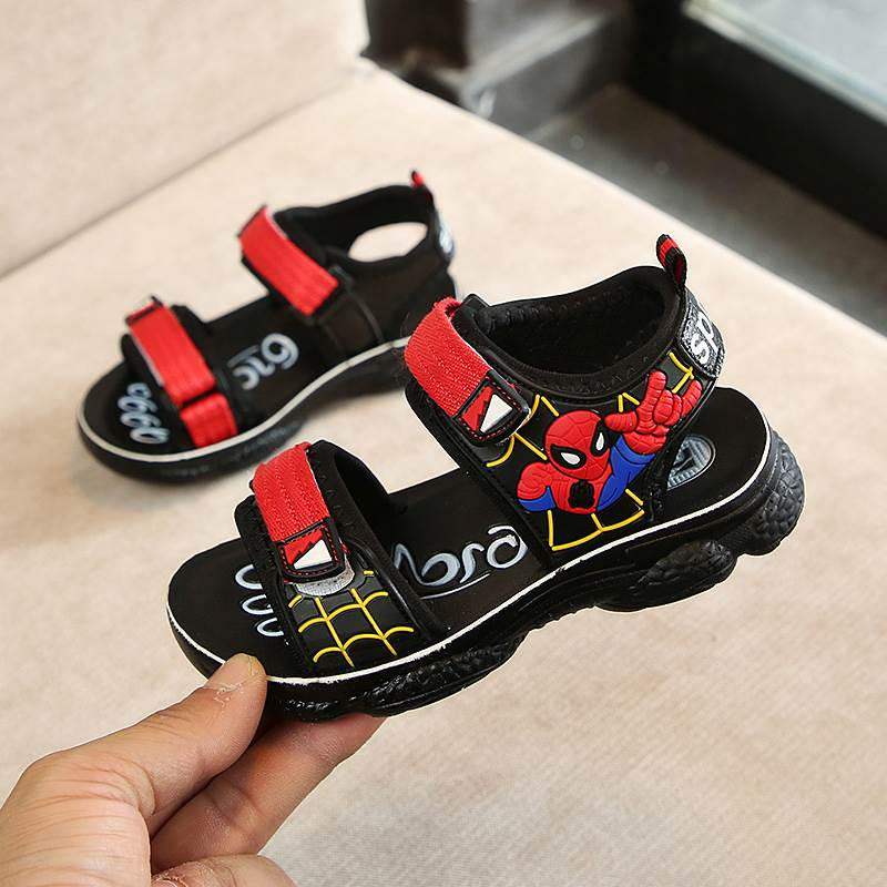 2019 Summer Boys Leather Spiderman Sandals For Baby Children Beach Shoes Kids Sports Soft Non-slip Casual Open Toe Flat Sandals