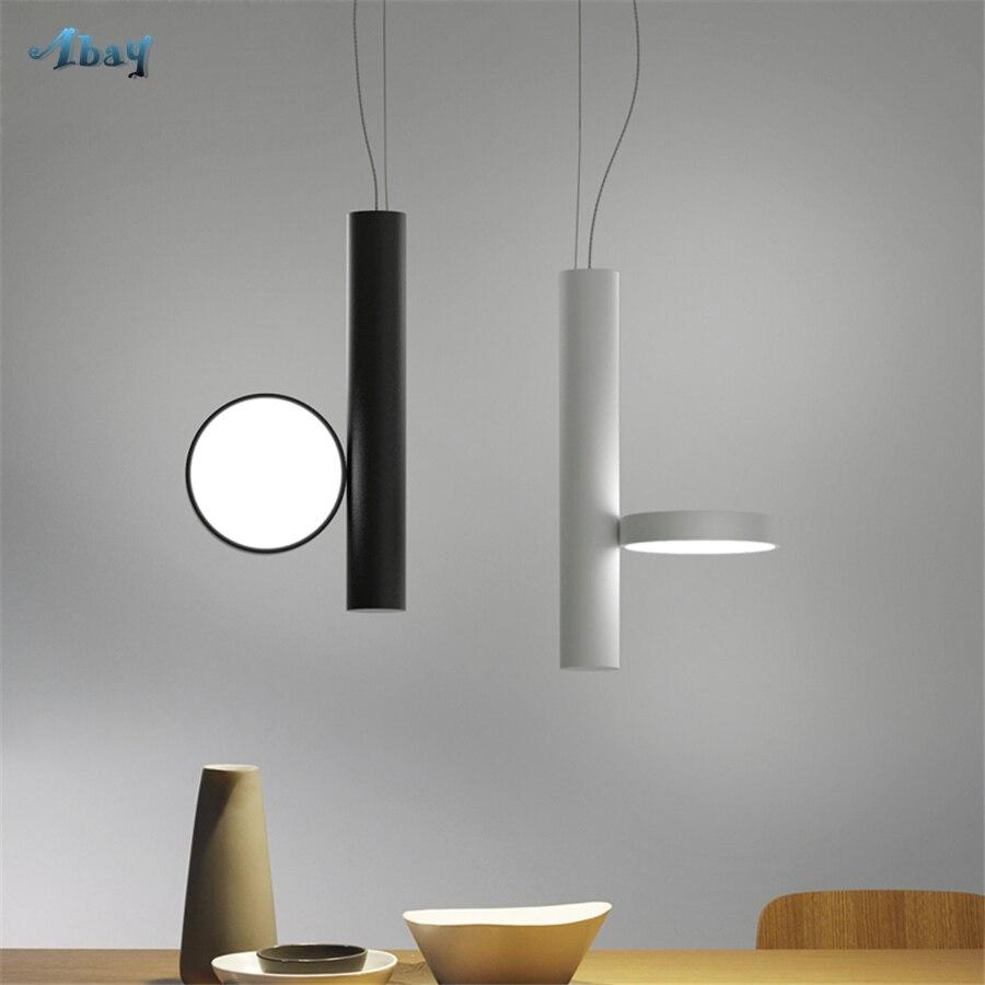 Lampes suspendues de Type tubulaire en forme de fer postmoderne noir/blanc Bar salle à manger lumières Led décor à la maison Novl cuisine lampe suspendue
