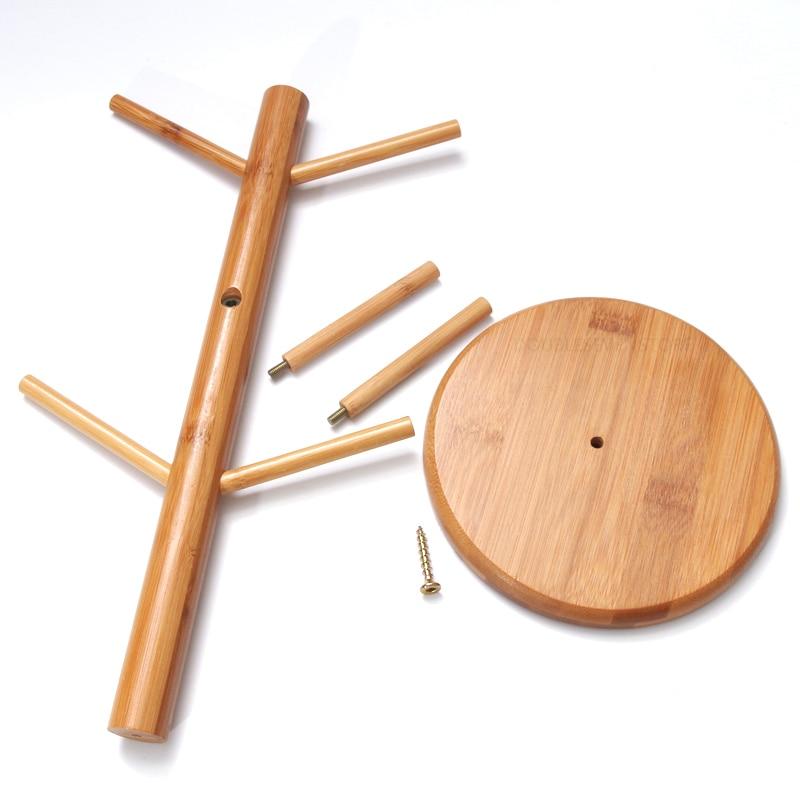 6 hook bamboo wood Hanging Tea Cup Coffee Mug Tree Rack Holder Home Kitchen Bar Store Shop Show Storage Hooks 16x35cm