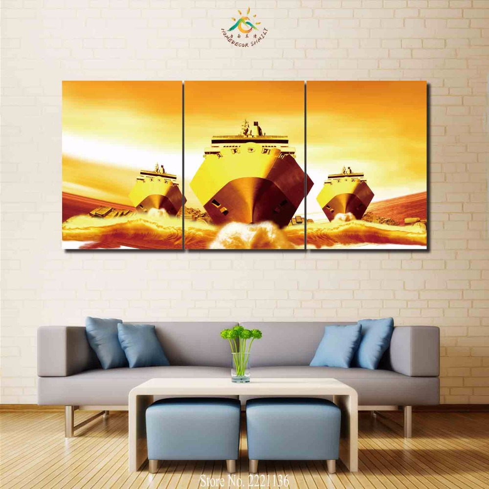 3 4 5 panels/set Cool Three Warships Modern Home Wall Decor Canvas ...