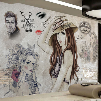 Custom Photo Wallpaper Modern Fashion Hand Painted Beauty Barber Shop Tooling Background Wall Decor Paintings Papel De Parede 3D fashion hd europe and america hand painted cosmetics wallpaper shop makeup shop background wall