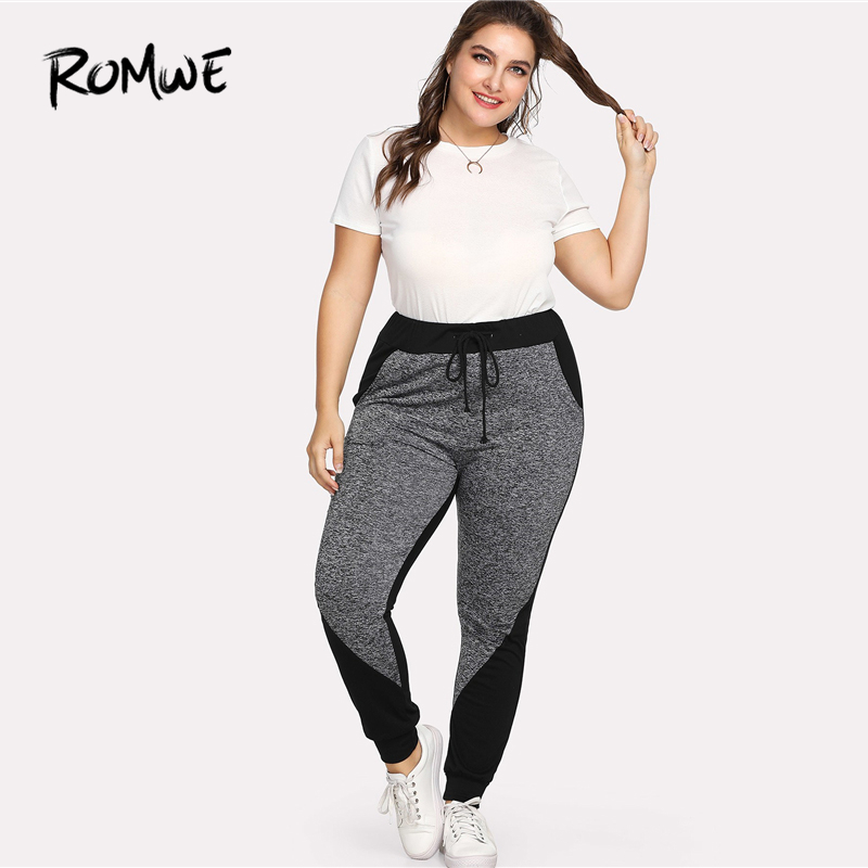 Romwe Sport Plus Size Black and Grey Drawstring Women Fitness Running  Tights 2018 Gym Running Sport pants Yoga Jogging Leggings-in Running Pants  from Sports ... cd996d8b3ec9