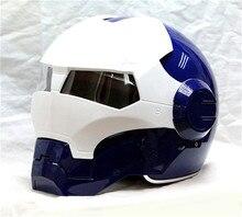 Личность мотоциклетный шлем Подлинных мужчин и женщин 610 человек ретро высокого класса off-road мотоцикл синий и белый утюг