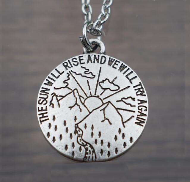 SanLan 1 шт. солнце поднимется, и мы постараемся снова вдохновляющее ожерелье Женские целебные ювелирные изделия лучший друг подарок - Окраска металла: 01