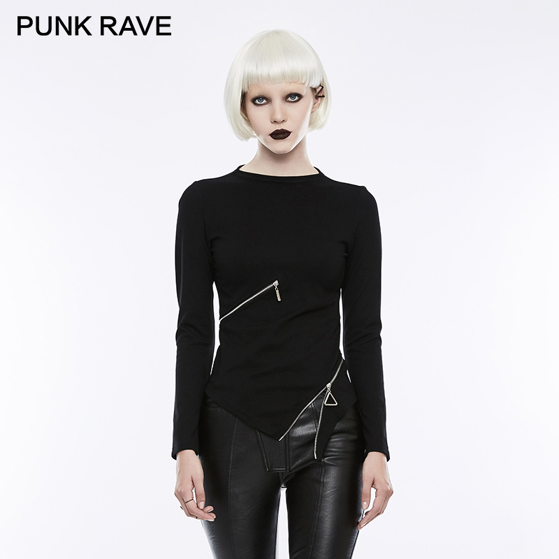 PUNK RAVE Gothic Ring Waist Zipper Small Stand collar Black Stretch Knitted T shirts Women Harajuku