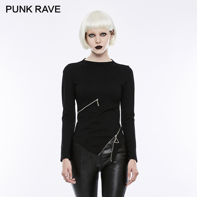 PUNK RAVE 2018 Gothic Ring Waist Zipper Small Stand-collar Black Stretch Knitted T-shirts Women Harajuku Rock Crop Tops Clothes