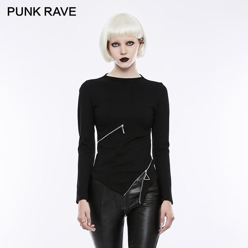 PUNK RAVE gothique anneau taille Zipper petit col montant noir Stretch tricoté T-shirts femmes Harajuku Rock Crop hauts vêtements