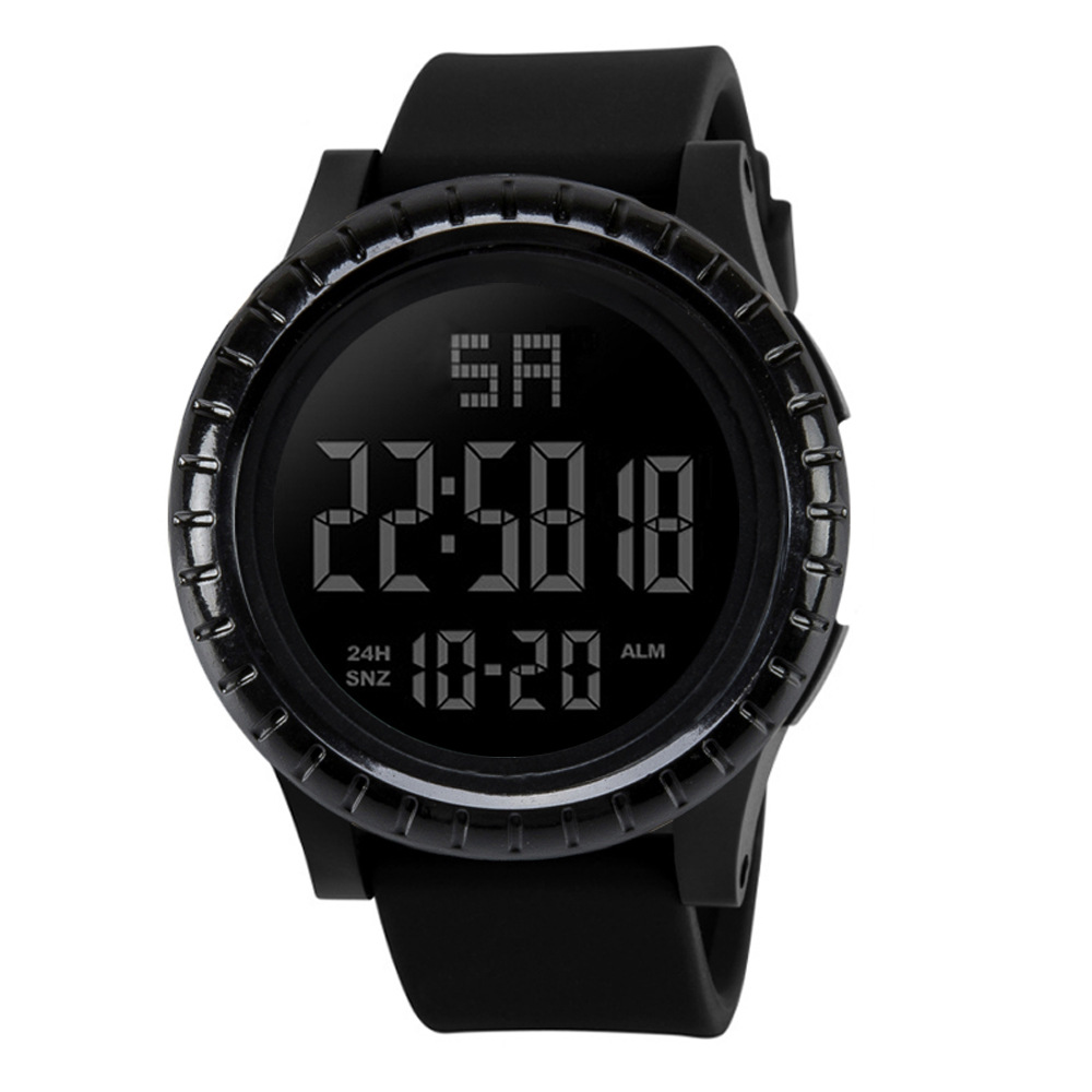 Large Screen Luminous Date Display 30M Waterproof LED Electronic Watch Men Outdoor Sports Climbing Black Silicone Watch Saat E94