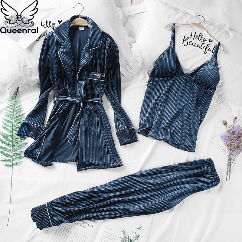 Queenral 3PCS Gold Velvet Warm Winter Pajamas Sets Women Sleepwear Sexy Lace Robe Pijamas Nightwear Pyjama Femme Nightie