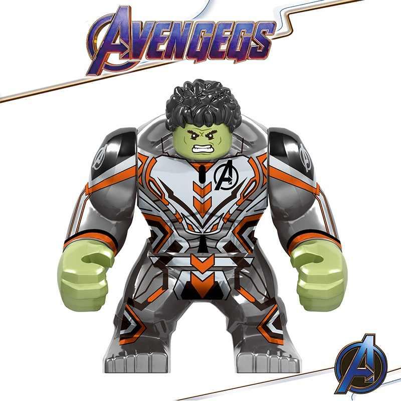 Legoing avengers 4 final marvel homem de ferro hulk thanos infinito gauntlet playmobil blocos de construção figuras crianças presente brinquedos