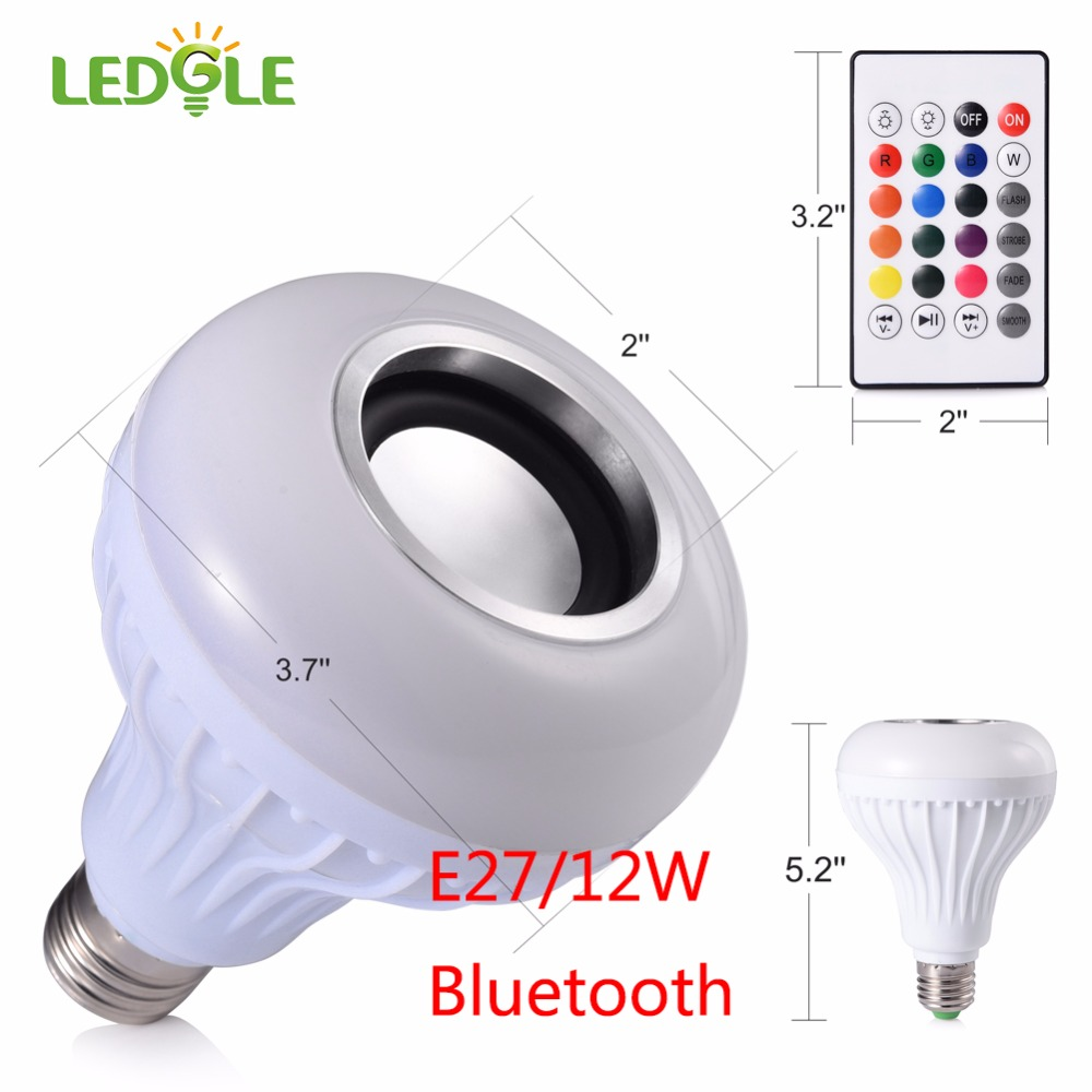 LEDGLE E27 LED Lamp AC 100-240V Wireless Bluetooth Speaker+12W RGB Bulb Smart Led Light Music Player Audio with Remote Control kmashi led flame lamp night light bluetooth wireless speaker touch soft light for iphone android christmas gift mp3 music player