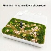 Готовые миниатюрные газон шоу-рум DIY производство по железной дороге персонажами настольной здания миниатюрная сцена модели сценариев с камнями
