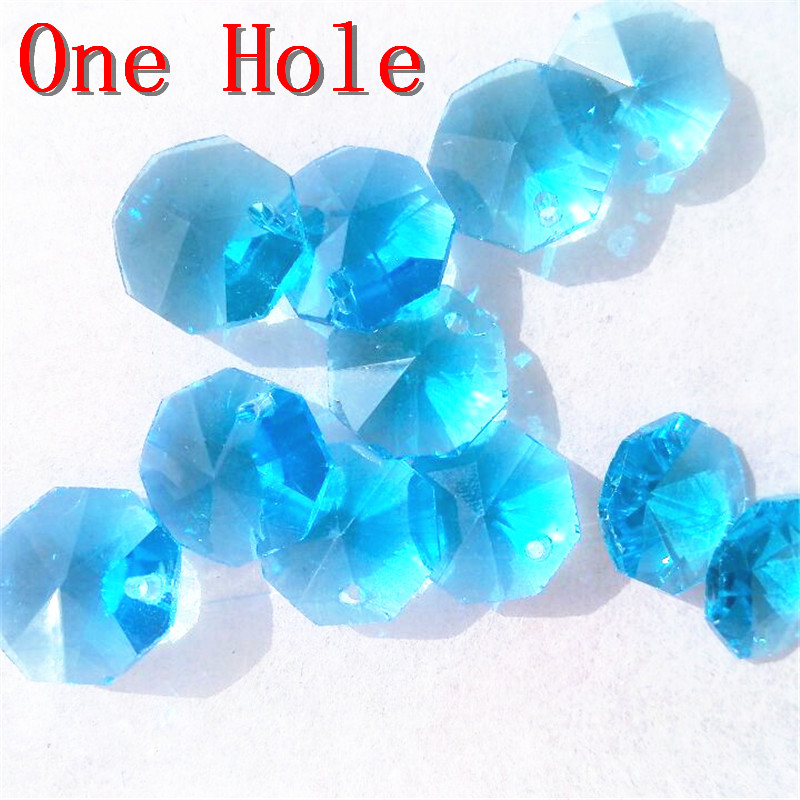 Advanced Glass Aquamarine Color, 14mm 2000pcs/lot Crystal Octagon Prism Beads In 1 Hole For Wedding Strands & Chandelier Beads