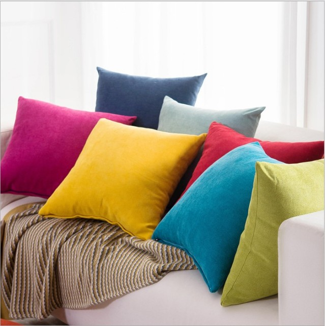 1pc candy color chenille pillow cover home decor cushion cover pillow case sofa cushions decorative