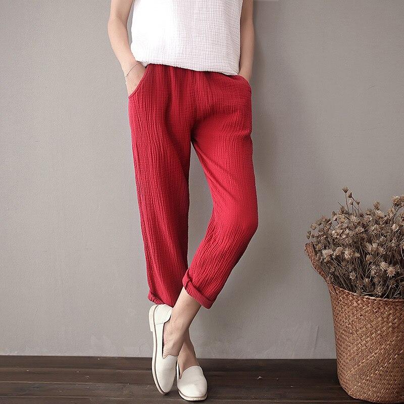 8 Candy color Solid Elastic waist Women Harem   Pants   Summer Cotton Casual Slim   Capris     Pants   Original design Harem Trousers C059