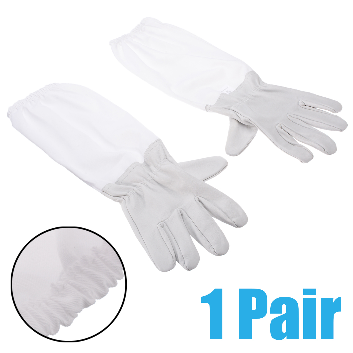1 Pair Of XL Large Beekeeping Gloves White Goatskin With Vented Beekeeper Long Sleeves Mayitr Protective Anti Bee Garden Gloves