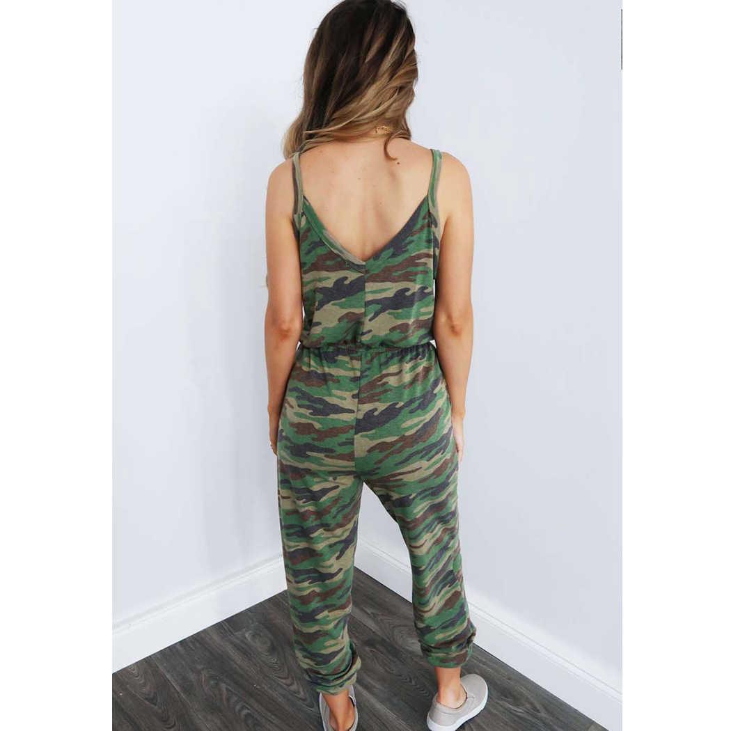 Mono de tirantes finos para mujer con bolsillos militares de camuflaje Casual cuello en V sin espalda