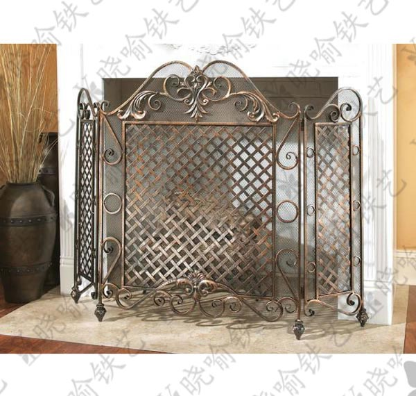 Wrought iron fireplace flameproof enclosure around 1102