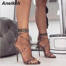 Aneikeh/ г. Модные летние женские босоножки однотонные туфли из PU искусственной кожи на высоком тонком каблуке со шнуровкой и закрытой пяткой для танцев под змеиную кожу, 35-40