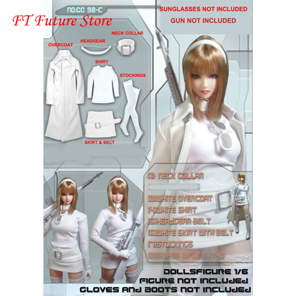 In stock 1:6 Scale Sexy Female Figure Clothes Accessory CC98C White Leather Suits Clothes Model for 12 inches Action Figure image