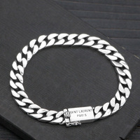 925 Sterling Silver Bracelet Bangle Mans 8mm Width Rock Fashion Curb Chain Bracelets For Man Jewelry