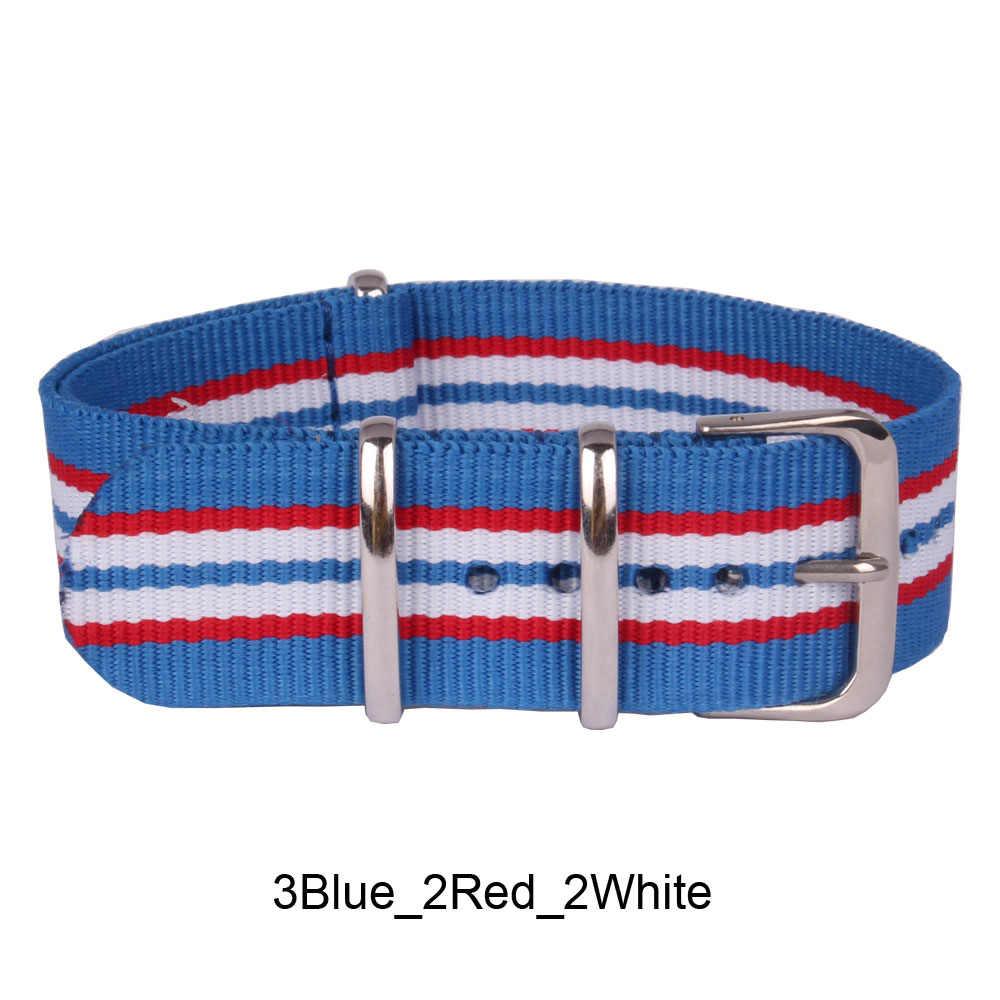 """לקנות 2 מקבלים 10% הנחה 12/14/16/18 מ""""מ כחול/אדום גברת פס Cambo נשים בד ארוג watchbands נאט""""ו ניילון שעונים רצועה בנד אבזם חגורת"""