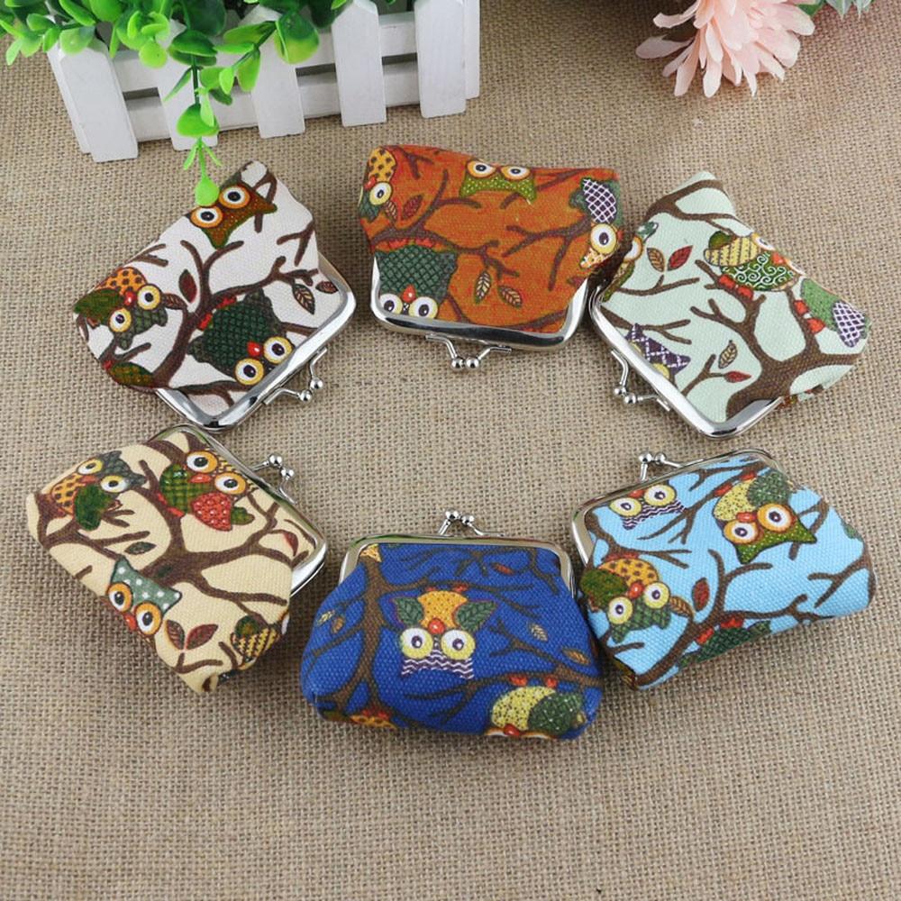 Fashion Women Style Canvas Small Wallet Lady Hasp Owl Pattern Coin Purse Cute Clutch Bag For Teenager Girls bolsa kawaii18